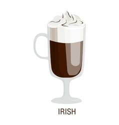 Coffee cups different cafe drinks irish vector