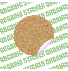 Organic cork natural sticker tag sale label vector image