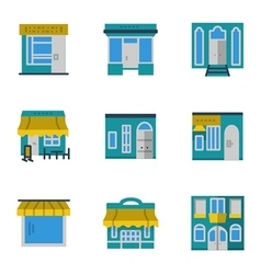 Storefronts blue icons set vector