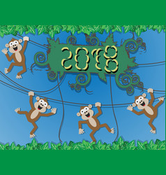 2018 happy new monkey style vector image