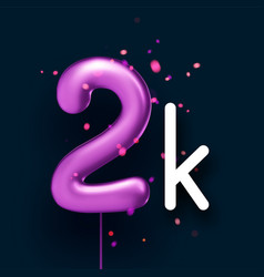 2k sign violet balloons with threads on black vector