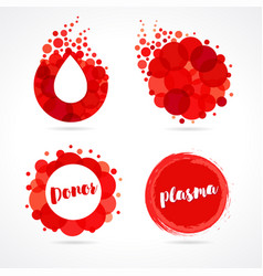 abstract red drop logo set design vector image