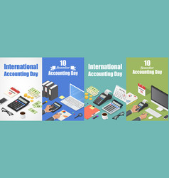 Accounting day banner set isometric style vector