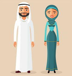 Arab people character traditional arab couple vector