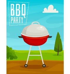 BBQ party poster with summer day landscape and vector