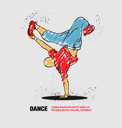 breakdancer dancing and making a frieze on one vector image
