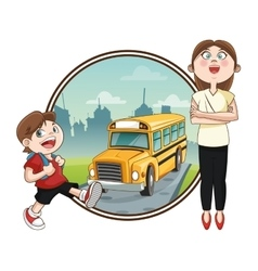 Bus teacher boy back to school design vector