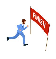 Businessman running goal reached finish vector