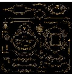 Calligraphic royal design elements setgold frames vector