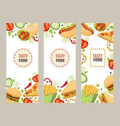 cartoon flat fast food banner template set vector image