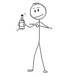 cartoon man holding and pointing at bottle of vector image