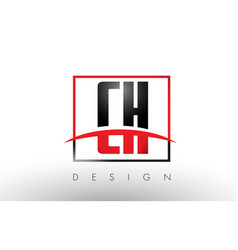 ch c h logo letters with red and black colors and vector image
