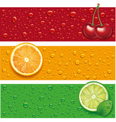 Cherry orange background with many water drops vector