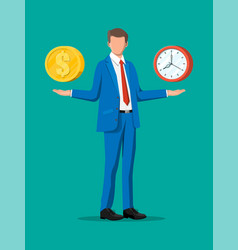 Clock and money on hand scales vector