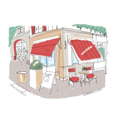 Colored freehand sketch of small sidewalk cafe or vector