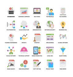 colorful flat icons of web and seo vector image