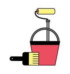 construction repair bucket roller paint brush vector image
