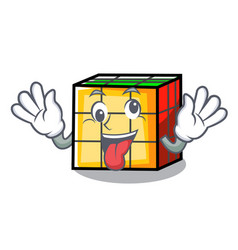 Crazy rubik cube mascot cartoon vector