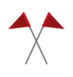 Crossed triangle flags icon image vector