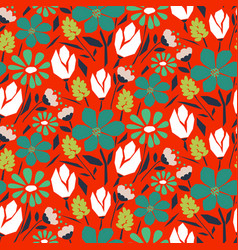 cutout style flower seamless pattern vector image