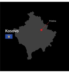 Detailed map of Kosovo and capital city Pristina vector