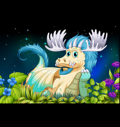 Dragon sitting on grass at night time vector