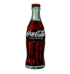 Drawing classic bottle coca-cola on white vector