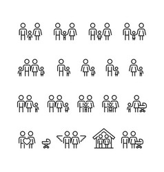 family and relationship icon set in thin line vector image