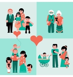 Family figures icons set of parents kids vector