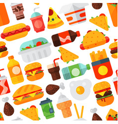 Fast food icons restaurant tasty cheeseburger meat vector