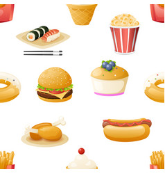 Fast food icons symbols realistic cartoon seamless vector