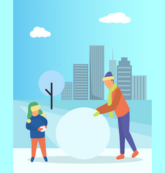 Father and kid making snowman in winter urban park vector