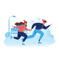 flat happy couple in winter clothes skating on ice vector image