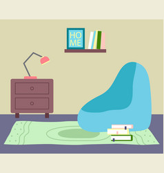 flat home interior cozy corner of vector image
