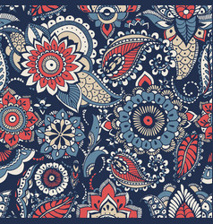 Floral paisley seamless pattern with colorful folk vector