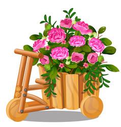 flower pot in shape wooden cart vector image