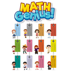 Font design for word math genius with times tables vector