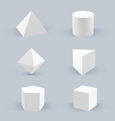 geometric realistic shapes 3d stars hexagon basic vector image