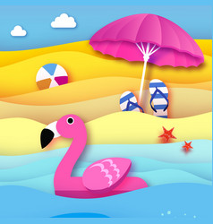 Giant inflatable pink flamingo in paper cut style vector
