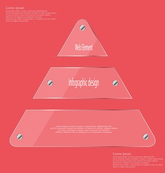 Glass triangle divided to three parts infographic vector