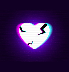 glitch heart broken distorted neon love on modern vector image