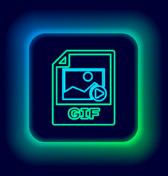 Glowing neon line gif file document download gif vector