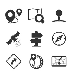 GPS and navigation icons vector