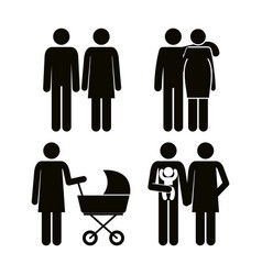 group of family members avatars silhouettes vector image