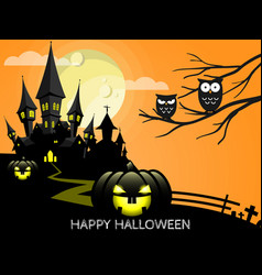 halloween background with happy halloween text vector image