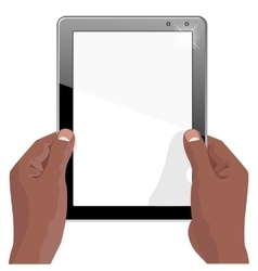 hands of african american holding a tablet vector image