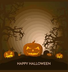 haunted happy halloween banner with pumpkin vector image