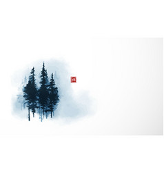 high blue pine trees in fog traditional oriental vector image