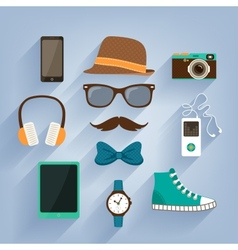 Hipster accessories items set vector image