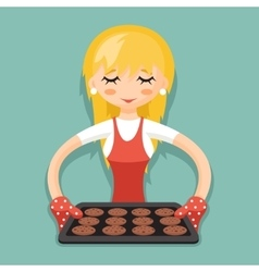 Housewife with baking and cookies cartoon vector